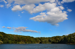Hooks Creek Lake (hpaich) Tags: park desktop blue wallpaper sky cloud lake water landscape newjersey skies nuvola background nj cielo jersey nuvem nube desktopwallpaper wolk desktopbackground cheesequake pilv