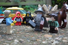 The 'Figs arrive home to find familiar faces waiting. (Paranoid from suffolk) Tags: horse car lego gandalf lordoftherings minifigs cart frodo 2012 minifigures