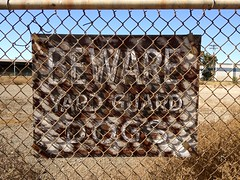 Yard Guarded (misterbigidea) Tags: street city dog building sign yard warning fence landscape wooden weeds peeling industrial view beware decay empty painted guard faded caution type barrier barren stockton payattention