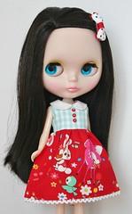 Deer, bunny, and bird red aqua blythe doll dress