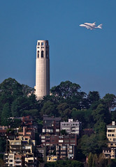 Endeavour Over Coit Tower (mikeSF_) Tags: ocean california tower mike landscape bay san francisco pacific pentax space sca hill nasa shuttle tamron telegraph 70200 coit 747 k5 endeavour oria httpmikeoriazenfoliocom