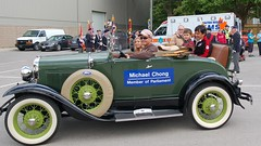 Michael and Cameron go for a ride in a Ford Model A at the Acton Fall Fair