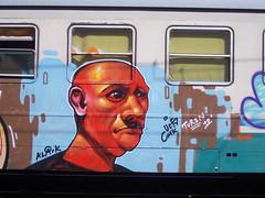 Immagine 068 (en-ri) Tags: train writing torino graffiti turin azzurro calvo 2012 marrone ucs testa cmk klark