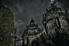 Darkness Around the Museum (KamrenB Photography) Tags: trees building castle statue museum architecture dark design high amazing europe hungary dynamic euro d budapest large eerie creepy architect h r moat range hdr buda pest hungarian forint vajdahunyad kamgtr