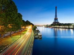 Paris, Eiffel tower (Beboy_photographies) Tags: blue paris france seine sunrise de soleil tour eiffel jour bleu reflet hour quai hdr heure lever bleue matin fleuve quais