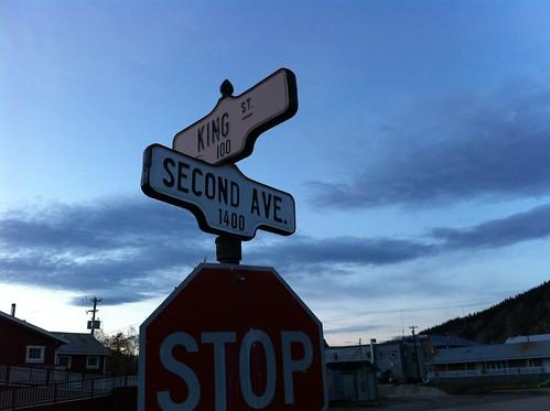Dawson, YT, has the exact same street signs as Toronto, ON.