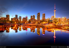 Big City Lights (HDR) (farbspiel) Tags: travel lake ontario canada water skyline night photoshop reflections nikon tripod wideangle can journey bluehour lakeontario hdr topaz kanada adjust superwideangle infocus 10mm postprocessing ultrawideangle photomatix westtoronto denoise d7000 nikkorafsdx1024mmf3545ged