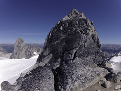 The Bugaboos - Pigeon Spire's West Ridge (Tideline to Alpine Photo, Idiosyncrasy Exemplified) Tags: camping sky mountains expedition clouds hiking spires glacier adventure climbing alpine granite mountaineering wilderness crevasse scrambling alpinism bugaboos thebugs tradclimbing alpineclimbing gopro pigeonspire bugaboospire bugabooprovincialpark applebeecamp applebeedome goprohd2 snowpatchbugaboocol pigeonspirewestridge