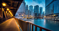 Chicago River juxtaposition - 2 ways - Oct.6.2012 (Rasidel Slika) Tags: lighting bridge light chicago skyline architecture buildings river dusk bluehour trump hdr hdri 5d3 5dmarkiii