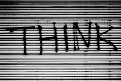 Think (zawtowers) Tags: street white black slr film monochrome port writing manchester typography graffiti mono nikon paint think spray 200 shutter roller vista quarter plus f80 agfa northern nikkoraf2880mmf3356g