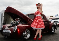 Holly_7022 (Fast an' Bulbous) Tags: car vehicle automobile willys coupe blown supercharged fast speed power drag strip race track santa pod england girl woman hot sexy long hair high heels stilettos stockings dress petticoat chick babe rockabilly people outdoor classic custom oldtimer model pose