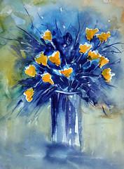 DSC_0002 (2) (gracielahellstrom) Tags: watercolour acuarela aquarelle loosewatercolour painting flowers vase bunch blue