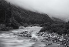 Smoke (Aelitha) Tags: longexposure blackandwhite mountain nature monochrome fog forest river landscape blackwhite smog woods rocks russia caucasus osetia digoria xf18mmf2 fujifilmxe2