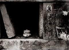 what remains of us (wolfgangfoto) Tags: bw blackandwhite urn cemetery wolfgangfoto