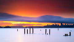 Sunrise Colors - San Francisco bay (davidyuweb) Tags: long exposure longexposure san francisco sanfrancisco sanfranciscobay sfist bay bridge city sky line