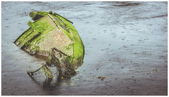Wreck in the River Leven, Dumbarton (Gordon_Farquhar) Tags: dumbarton distillery wreck ballantines derelict decay red sandstone urban river leven scotland grim sad depressing hometown boat wrecked green water capsized sunk sank