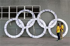 Rio de Janeiro : Workers inspect a set of Olympic Rings that are scheduled to be installed inside Olympic Park. The 2016 Rio de Janeiro Games are scheduled to open Aug. 5. (legend_news) Tags: rio de janeiro workers inspect set olympic rings that scheduled be installed inside park the 2016 games open aug 5