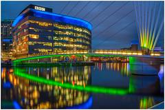 Salford Quays (thenikonkid) Tags: hdr mediacity night salfordquays bbc dusk twilight manchestershipcanal inlandwaterways