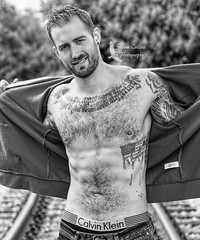 Model John (Shawn Collins Photography) Tags: hairy hairychest model modeling male malemodel built fitness fit fitnessmodel masculine tattoo strong beard beardporn scruff abs chest shirtless handsome sexy ink pittsburgh canon