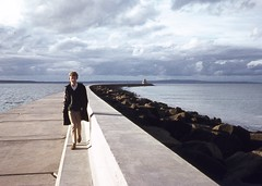 Portland measured drawing project May 1968 R Tonkin on breakwater during a break in measuring (Graeme Butler) Tags: school melbourneuniversity history heritage government design culture architecture melbourne victoria australia