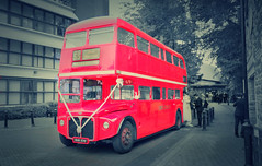 1950's Routemaster (williams19031967) Tags: red bus route master england london wellingborough northants northamptonshire high st married getting marry bride black white colour color pop popped bw