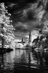 """The Dme, Uppsala, Sweden"" (Peter Cohn) Tags: fyrisn ir infrared sweden uppland uppsala water river cathedral dome"