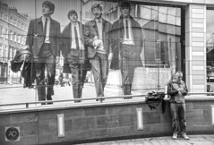 In Liverpool One there`s a record store displaying legends. (alun.disley@ntlworld.com) Tags: thebeatles people music musicians famouspeople johnlennon paulmcartney georgeharrison ringostarr window citycenter man liverpool merseyside uk liverpooloneshoppingcenter buildings blackandwhite mono artists streetscene streetphotography