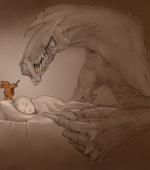 Teddy Bear (JamesGoblin) Tags: illustrate illustration illustrations art artwork poster posters draw drawing pen sketch teddy teddybear toy toys bear kid kids child children night sleep sleeping dream dreams nightmare nightmares monster monsters bed beds pillow pillows sheet sheets claw claws jaw jaws scary lovely awesome