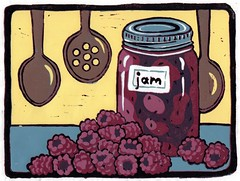 Raspberry Jam Relief Print (robinharney) Tags: printmaking linocut art originalart etsy jam raspberry canning kitchen