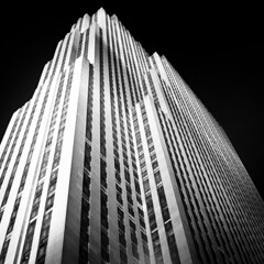 Rockefeller Center (Adam Garelick) Tags: city nyc newyorkcity blackandwhite 120 6x6 film monochrome architecture night mediumformat manhattan midtown hasselblad rodinal 2012 fujineopanacros