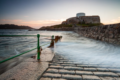 Fort Grey (Olly Plumstead) Tags: blue sunset orange seascape seaweed green water beautiful stone wall canon landscape grey se fishing long exposure fort mark august rope ii 09 lee 5d swish olly cobbles railings hitech tranquil guernsey holder swash 1740l plumstead gnd 5d2