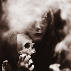A Grave for Two Ghosts (Rebecca Bentliff) Tags: blackandwhite selfportrait grave dark dead death skull witch smoke ghost eerie creepy cloak rebeccapalmer texturebybrookeshaden