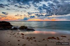 Just Before Sunrise (Tim Azar) Tags: ocean blue sunset sky sun beach water clouds sunrise landscape sand rocks waves florida cloudy shoreline rocky boulders slowshutter deerfieldbeach hdr neutraldensity timazar hdrefexpro2