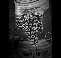 The Grapes of Wrath (Mr sAg) Tags: blackandwhite streetart art wall fruit skulls tin death graffiti birmingham mural can piece westmidlands sag tincan brum delmonte gableend bunchofgrapes simonharrison liverystreet 100juice tinnedfruit mrsag ©simonharrison chunkygrapes bunchofskulls initsownjuice delmontequality