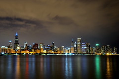 My favorite skyline (veryvinita) Tags: city longexposure chicago reflection skyline night lakemichigan chicagoist thechallengefactory