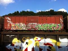 Gros (?), Meter (Dixie Destruction) Tags: car train graffiti box boxcar meter freight gros fr8