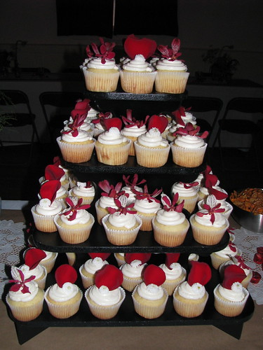 Red and White wedding cupcake tower