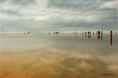 Ninety Mile Beach (Olga NZ) Tags: newzealand people reflection texture clouds northland ninetymilesbeach magicunicornverybest magicunicornmasterpiece