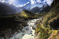 Hooker Valley Track, Mt. Cook (AtomicZen : )) Tags: trip travel blue summer vacation sky cloud mountain lake mountains tourism nature water beautiful clouds spectacular landscape outdoors island scenery view south scenic cook southern zealand journey