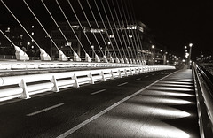 Lights & lines - Samuel Beckett Bridge - Dublin - Ireland (2c..) Tags: road city autumn ireland light shadow bw dublin building night bridges ambient ie lovelycity 72dpipreview lowresolutionpreview iphone4s 2c