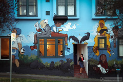 House Party (PiscesDreamer) Tags: street city windows urban cats streetart coffee wall vancouver painting football artwork mural apartment tea britishcolumbia soccer crows eastvan eastvancouver charlesstreet thedrive