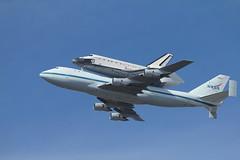 Space Shuttle Endeavour over Moffett Field