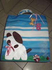 Sacola de feira - Pit Bull (Ponto em Ponto) Tags: de artesanato feira cachorro feltro pitbulll sacola