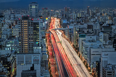 Hanshin Expressway (Sandro Bisaro) Tags: light car japan skyline night stream trails osaka expressway hdr hanshin