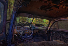 Inside the Shark... 267/P366 (KvonK) Tags: abandoned car interior september hdr steeringwheel photomatix mcleans p366 kvonk