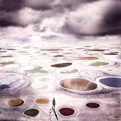 Between Two Worlds (Rob Woodcox) Tags: shadow sky sun moon canada texture colors strange clouds eclipse weird britishcolumbia space alien surreal story cracks powers outerspace healing epic lunar osoyoos endless otherworldly desertlike spottedlake robwoodcox robwoodcoxphotography evanborges