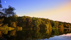 Peaceful Easy Feeling (how1970) Tags: autumn sunset moon nature oaklandlake oaklandgarden