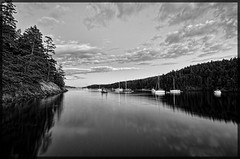 Reid Harbor Evening, Stuart Island, San Juan Islands [Explore] (tacoma290) Tags: vacation sky blackandwhite clouds reflections boats nikon shoreline pacificnorthwest sanjuanislands pnw habor stuartisland semilongexposure reidharbor reidharboreveningstuartislandsanjuanislands explore27sep12