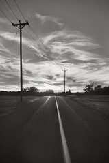 Middle of the Road (frntprchprss) Tags: road sunset blackandwhite ma middle telephonepoles centerline blackwhitephotos southamherst jamesgehrt