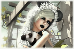 Mother Panda  (Close up) (   (not taking clients)) Tags: white black fashion closeup mouse vines panda heaven arcade mother headshot secondlife hamster mouseears gacha pandahamster harleyquinade harleyquinaderesident arcadegacha